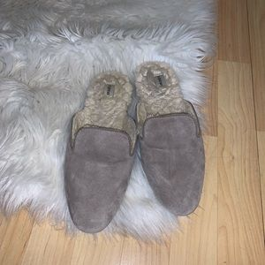 Birdies The Phoebe slip on Mules Taupe Gray Faux Fur Size 8